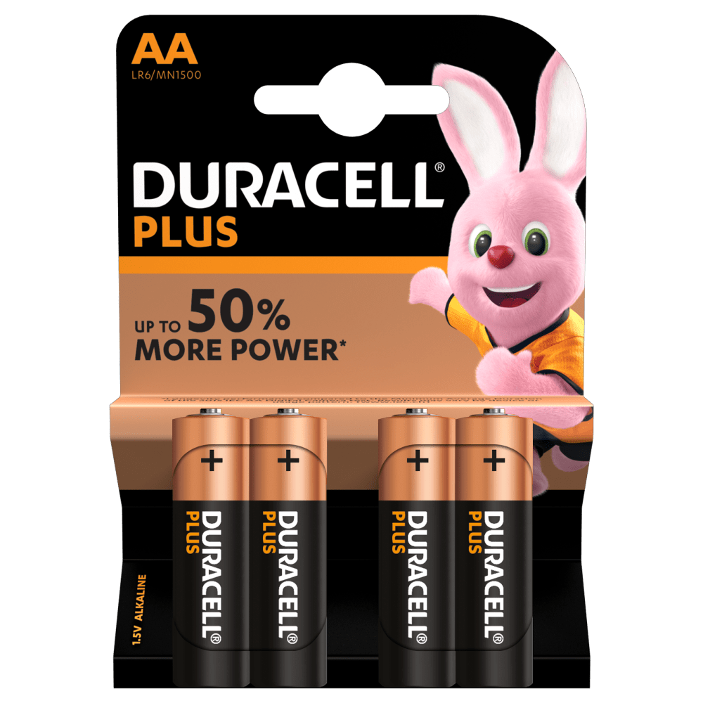 Duracell Type Plus 1,5 V AA Batterien in 4-teiliger Packung